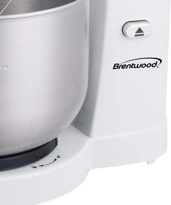 Brentwood Appliances 5-Speed Stand Mixer with 3-Quart Stainless Steel Mixing Bowl - White