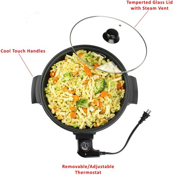 Brentwood Appliances 12-Inch Round Nonstick Electric Skillet with Vented Glass Lid
