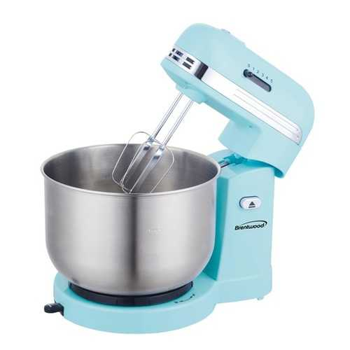 Brentwood Appliances 5-Speed Stand Mixer with 3-Quart Stainless Steel Mixing Bowl - Blue