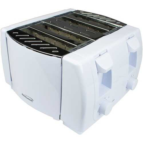 Brentwood Appliances White Cool Touch 4-Slice Toaster