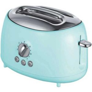 Brentwood Appliances Blue Cool-Touch 2-Slice Retro Toaster with Extra-Wide Slots